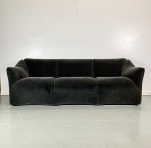 Cassina Tentazione Sofa by Mario Bellini in Charcoal Mohair Midcentury