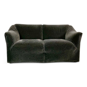 Cassina Tentazione Loveseat by Mario Bellini in Charcoal Mohair Midcentury