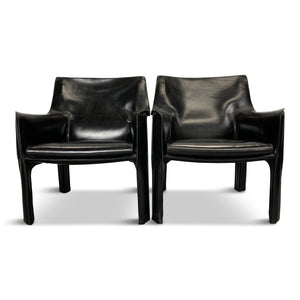 Cassina Cab Chairs by Mario Bellini in Black Leather, a Pair Midcentury
