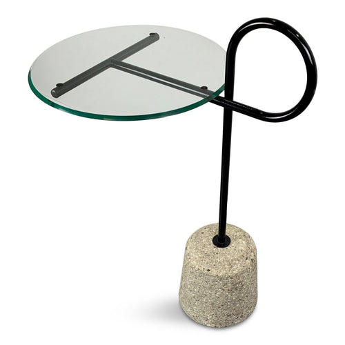 Italian Mid-Century Post-Modern Sottsass Style Side Table of Concrete and Steel