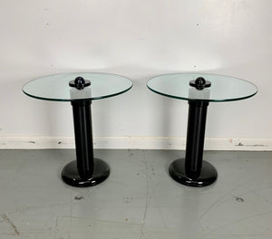 Kaiser-Newman Aluminum, Glass and Porcelain Drinks Tables a Pair