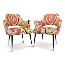 Load image into Gallery viewer, Mid-Century Italian Armchairs with Pucci Style fabric and Brass Feet a Pair