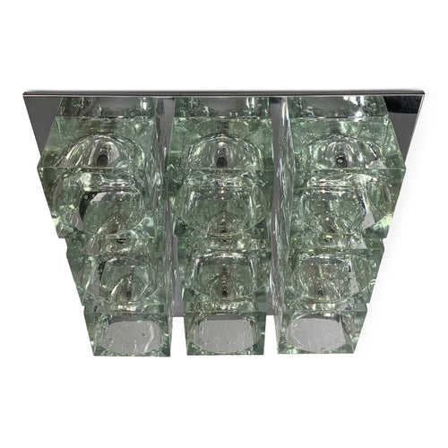 Mid-Century Gaetano Sciolari Nine-Light Crystal Cube Flush Mount Lamp Lightolier