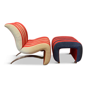 Post-modern Leather Lounge Chair and Ottoman by Renown Designer Robert Tiffany