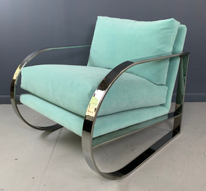 Mid-Century Chrome Lounge Chair Designed by John Mascheroni for Swaim