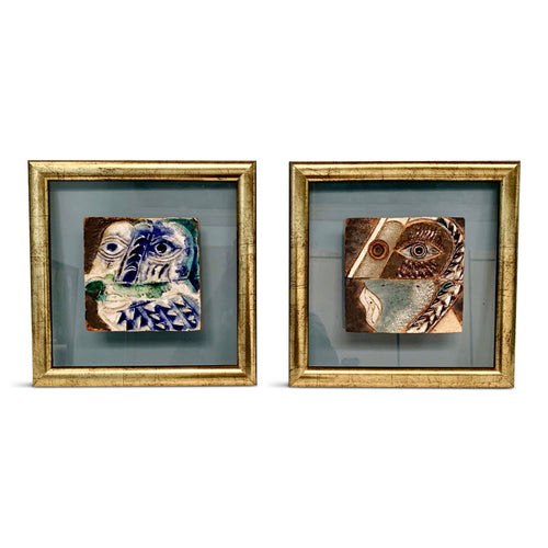 Ceramic Framed Tiles in the Style of Picasso by the Atelier Espinoza Brugos