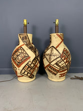 Load image into Gallery viewer, Midcentury Ceramic Lamps Hand Painted in the Manner of Picasso