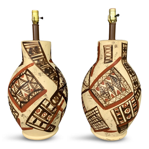 Midcentury Ceramic Lamps Hand Painted in the Manner of Picasso