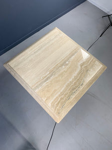 Travertine Square Midcentury Italian Pedestal Coffee Table