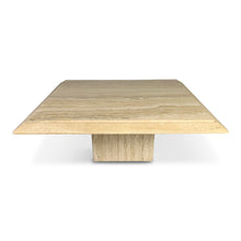 Load image into Gallery viewer, Travertine Square Midcentury Italian Pedestal Coffee Table