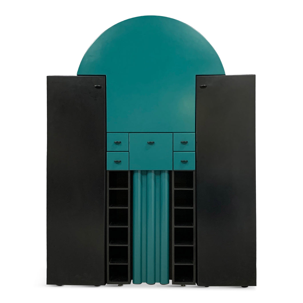 Post Modern Interlübke Teal and Black Bar with Fold-Down Plate, Germany, 1970s