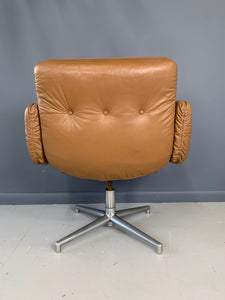 Harvey Probber Leather and Aluminum Executive Chair