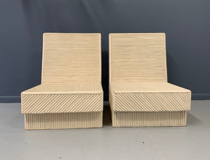 Split Reed Bamboo Lounge Chairs a Pair Mid Century