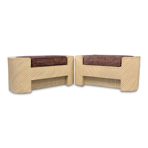 Split Reed Bamboo Upholstered Benches A Pair MidCentury Design