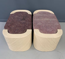 Load image into Gallery viewer, Split Reed Bamboo Upholstered Benches A Pair MidCentury Design