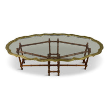 Load image into Gallery viewer, Faux Bamboo Coffee Table With Brass and Glass Top