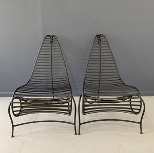 Andre Dubreuil Inspired Pair of Iron Spine Chairs Mid Century