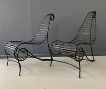 Load image into Gallery viewer, Andre Dubreuil Inspired Pair of Iron Spine Chairs Mid Century