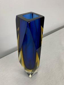 Impressive Murano Sommerso Multicolored Multi Faceted Vase Midcentury