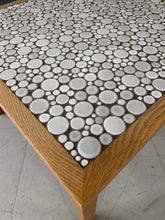 Load image into Gallery viewer, Martz Square Coffee Table in White Ceramic Circular Tiles Set in Charcoal Grout