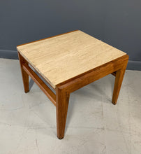 Load image into Gallery viewer, Mid-Century Trio of Walnut and Travertine Stools or Bench by Jens Risom