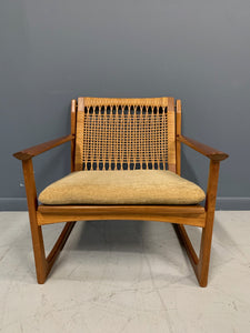 Hans Olsen Teak and Cane Lounge Chair for Juul Kristensen Mid-Century