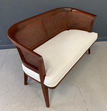 Load image into Gallery viewer, Mid-Century Mahogany, Cane and Upholstered Bench in the Style of Probber