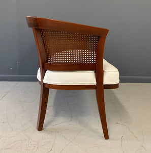 Mid-Century Mahogany, Cane and Upholstered Bench in the Style of Probber
