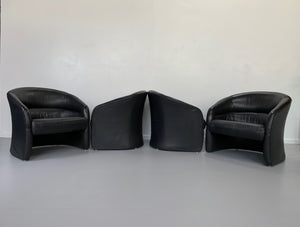 Ward Bennett for Brickel Associates 1970s Leather Barrel Back Club Chairs