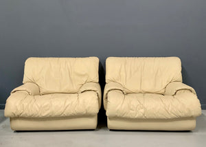 Postmodern 1980s Lounge Chairs with Ottomans by Roche Bobois in Soft Leather