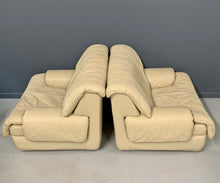 Load image into Gallery viewer, Postmodern 1980s Lounge Chairs with Ottomans by Roche Bobois in Soft Leather