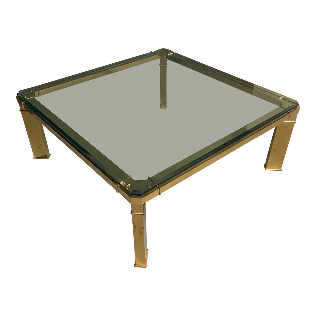 Mastercraft 1980s Brass and Glass Coffee Table Mid-Century