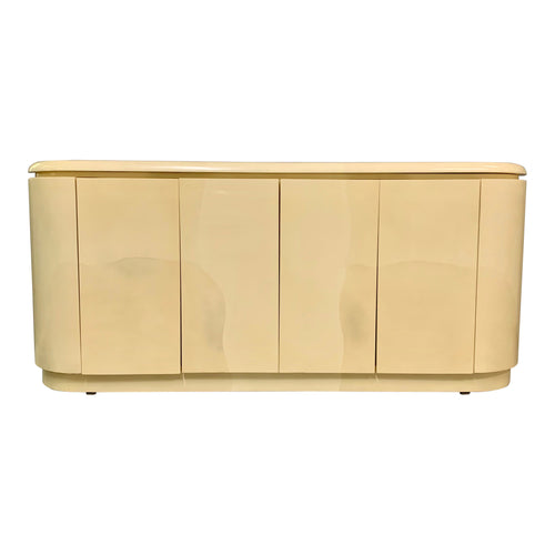 lacquered Faux Goatskin Sideboard in the Style of Springer Mid-Century