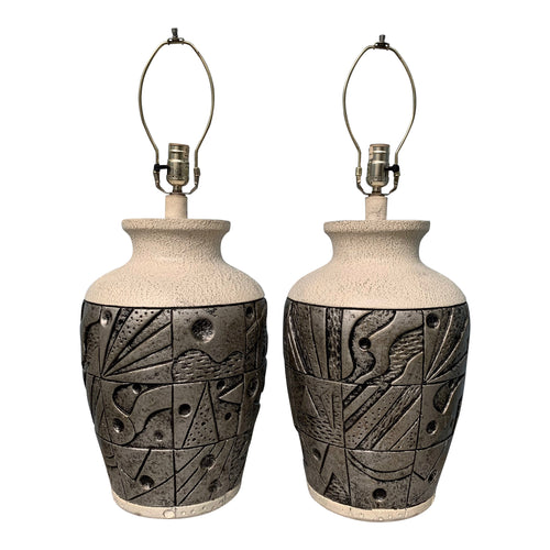Postmodern Pair of Lamps with Sculptural Relief in Silver and Blacks