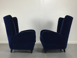 Paola Buffa Lounge Chairs in Navy Velvet