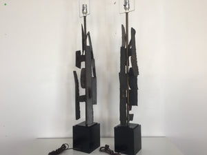 Harry Balmer Brutalist Sculpture Lamps for Laurel Lighting Co