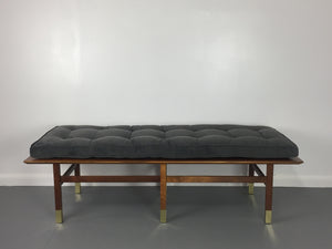 Harvey Probber Upholstered Walnut Bench with Brass Feet