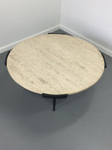 Italian Travertine and Ebonized Wood Coffee Table