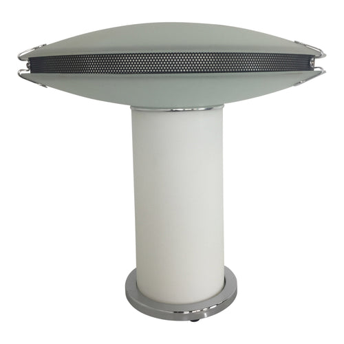 Post Modern Frosted Glass Table Lamp with Mesh and Chrome Details