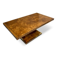 Load image into Gallery viewer, Burl and Brass Dining Table in the Manner of Milo Baughman Mid Century