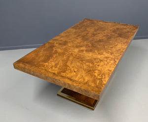 Burl and Brass Dining Table in the Manner of Milo Baughman Mid Century