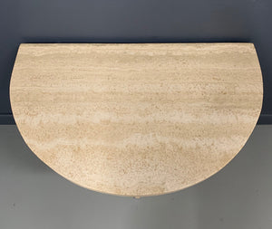 Demilune Travertine Midcentury Console Table