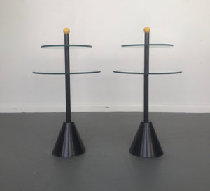 Memphis Side Tables of Glass and Enameled Steel a Pair