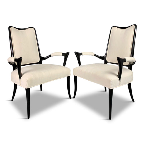 Italian Ebonized Sculptural Pair of Armchairs in the Style of Osvaldo Borsani