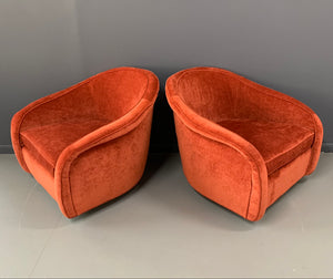 Milo Baughman Pair of Walnut Based Swivel Chairs for Thayer Coggin Mid Century