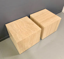 Load image into Gallery viewer, Italian Travertine Pair of Cube Side Tables Midcentury