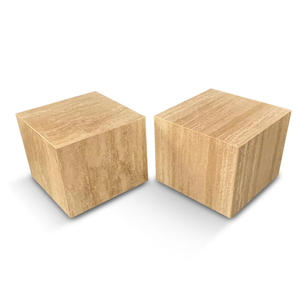 Italian Travertine Pair of Cube Side Tables Midcentury