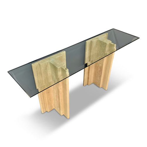 Midcentury Italian Travertine and Glass Console Table