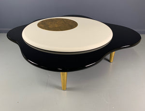 Rougier Freeform Leather, Gold Leaf and Lacquer Post Modern Coffee Table