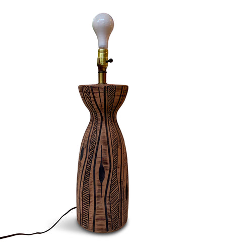 Lee Rosen for Design-Technics Terracotta Colored Lamp with Incised Black Design
